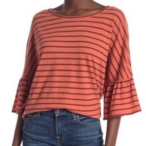 Madewell Coral Orange Blouse Loose Flowy Boho NWT